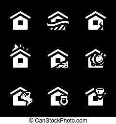 ベクトル, ハウジング, セット, icons., 事故