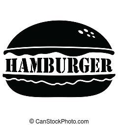 ベクトル, ハンバーガー, 隔離された, 背景, 白, アイコン