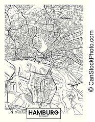 ベクトル, ハンブルク, 都市, 詳しい, 地図, ポスター