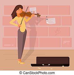 ベクトル, バイオリン, 音楽家, 通り, イラスト
