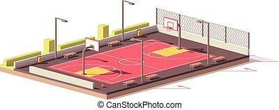 ベクトル, バスケットボールコート, 低い, poly