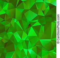 ベクトル, バックグラウンド。, デザイン, polygonal, エメラルド, イラストレーター, 多色刷り, 抽象的, 緑
