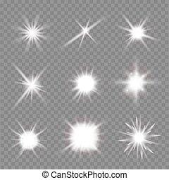ベクトル, バックグラウンド。, 上に, フラッシュ, セット, イラスト, 透明, ライト