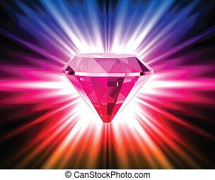 ベクトル, バックグラウンド。, 明るい, ダイヤモンド, カラフルである