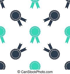 ベクトル, バッジ, リボン, 隔離された, パターン, アイコン, 緑, メダル, seamless, バックグラウンド。, 白