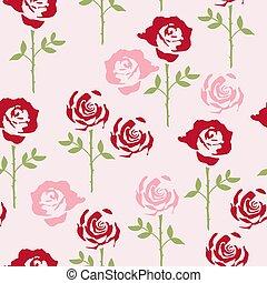 ベクトル, バラ, 花のパターン, 花, seamless