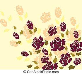 ベクトル, バラ, 花, 黄色, バックグラウンド。