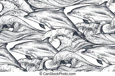 ベクトル, パターン, スタイル, スケッチ, 海洋, seamless, 波, イルカ, モノクローム