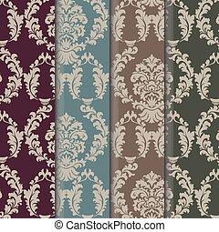 ベクトル, パターン, セット, 装飾, ダマスク織