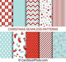 ベクトル, パターン, セット, seamless, クリスマス