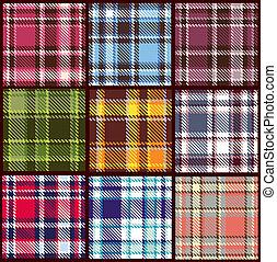 ベクトル, パターン, セット, seamless, checkered