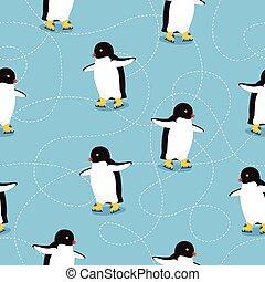 ベクトル, パターン, ペンギン, ice-skates, seamless