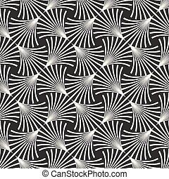 ベクトル, パターン, ライン, seamless, 弧, 黒, 格子, 白