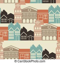 ベクトル, パターン, 家, seamless