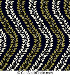 ベクトル, パターン, 波状, 葉, seamless