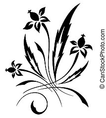 ベクトル, パターン, 白い花, 黒