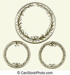 ベクトル, パターン, 花輪, 背景