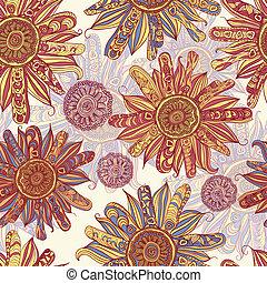 ベクトル, パターン, 花, seamless