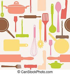 ベクトル, パターン, tools., seamless, 台所