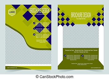 ベクトル, パンフレット, デザイン, 抽象的, フライヤ, テンプレート, 黄色, バックグラウンド。