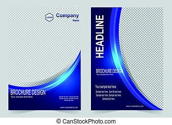 ベクトル, パンフレット, デザイン, 抽象的, フライヤ, 青, テンプレート, 色, バックグラウンド。