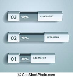 ベクトル, パーセント, チャート, infographic, デザイン, テンプレート