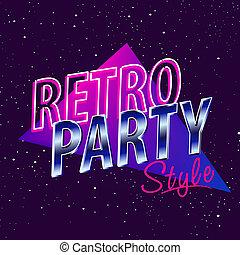 ベクトル, パーティー, すみれ, スタイル, 80代, ファッション, ネオン, 株, ultra, ディスコ, デザイン, レトロ, 型