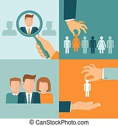 ベクトル, ビジネス, そして, 雇用, 概念, 中に, 平ら, スタイル