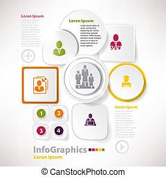 ベクトル, ビジネス, 現代, ペーパー, デザイン, infographics, 要素