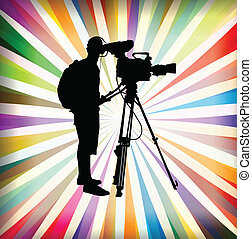 ベクトル, ビデオ, 背景, オペレーター, camcorder, カメラマン