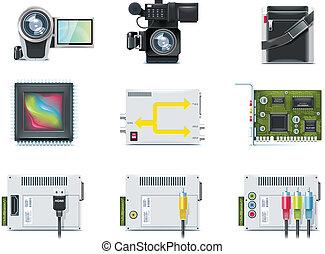 ベクトル, ビデオ, icons., p.2