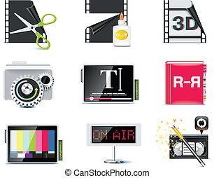 ベクトル, ビデオ, icons., p.6