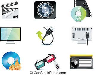 ベクトル, ビデオ, p.4, icons.