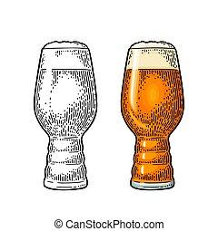 ベクトル, ビール, 古典, 色, glas., ipa, 型, illustration., 彫版