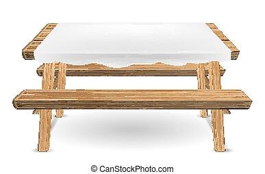 ベクトル, ピクニック, 木, テーブル, 白, テーブルクロス