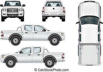 ベクトル, ピックアップ, 白い背景, トラック