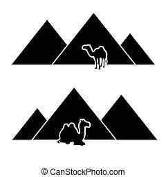 ベクトル, ピラミッド, らくだ