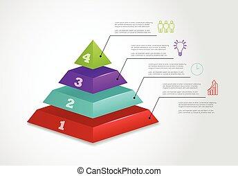 ベクトル, ピラミッド, アイコン, 4, ステップ, infographic, テンプレート