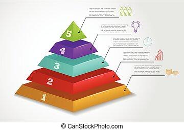 ベクトル, ピラミッド, ステップ, infographic, 5, テンプレート