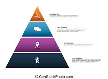 ベクトル, ピラミッド, 4, ステップ, infographic, テンプレート