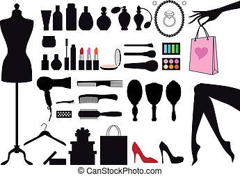 ベクトル, ファッション, セット, 美しさ