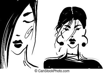 ベクトル, ファッション, 黒, 白, 女の子, イラスト, 2, 肖像画