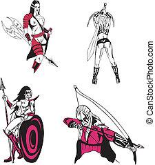 ベクトル, ファンタジー, セット, warriors.