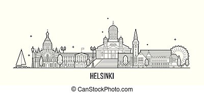 ベクトル, フィンランド, 建物, 線, ヘルシンキ, 都市 スカイライン