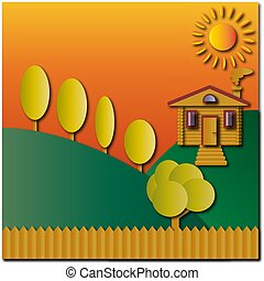 ベクトル, フェンス, 丸太, 太陽, 木, tones., 風景, イラスト, オレンジ, 家, 丘