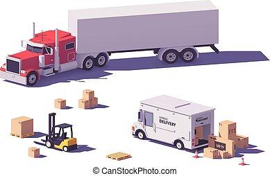 ベクトル, フォークリフト, poly, トラック, 低い