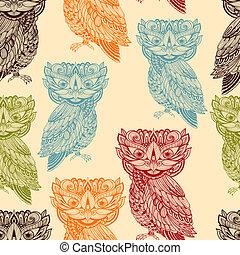 ベクトル, フクロウ, パターン, 明るい, seamless