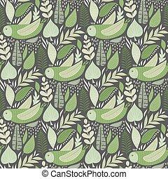 ベクトル, フクロウ, 花, 堅い, パターン, elements., seamless