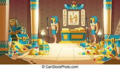 ベクトル, フルである, ファラオ, 宝物, 墓, 漫画