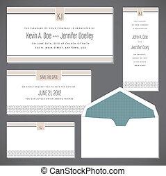 ベクトル, フレーム, セット, 封筒, 結婚式